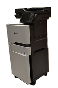 LX4140-20 : XC4140 | XC4150 | C725 OEM Fit, heavy duty printer stand, printer cabinet with doors, printer stand with doors, printer stand with wheels, heavy duty printer cabinet with wheels